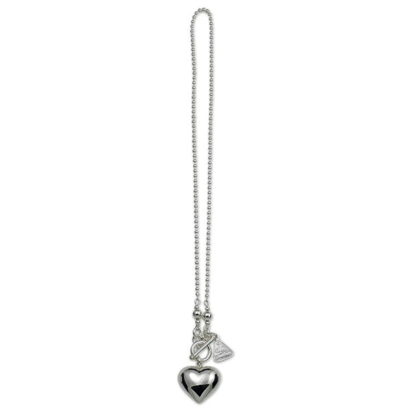 SILVER BALL CHAIN PUFFY HEART NECKLACE