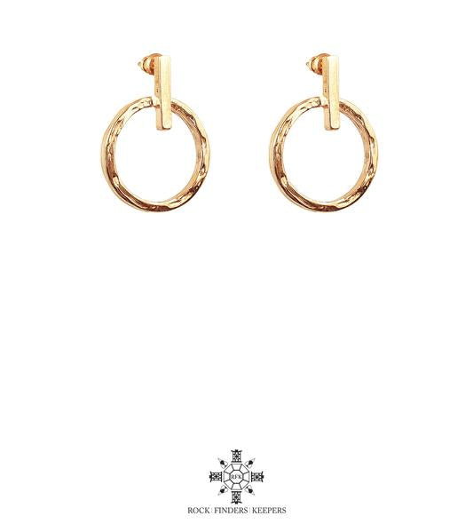 ZOE SMALL HAMMERED RING & POLISHED BAR EARRINGS | ROSE