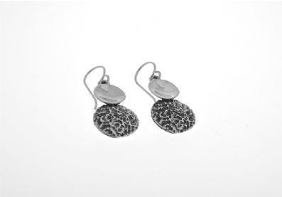 DOUBLE PLAIN AND TEXTURED DROP EARRING