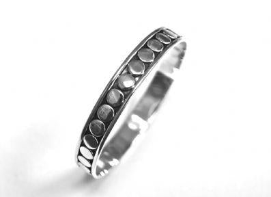 BANGLE OXIDISED DOTS STERLING SILVER - IRONCLAY