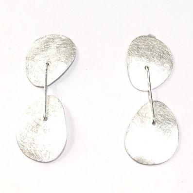 DOUBLE BRUSHED STUD DROP EARRING
