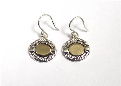 EARRINGS OVAL BRASS DETAILED DROP