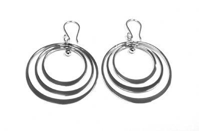 EARRINGS THREE RING ORBIT DROPS