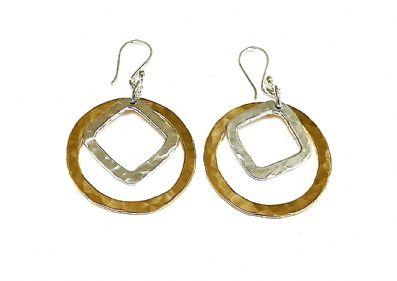 BRASS AND SILVER SHAPED DROP EARRINGS