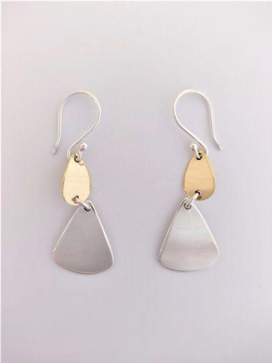 SILVER AND BRASS DROP EARRINGS