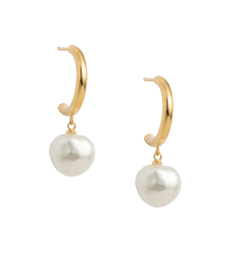 PEARL DROP HOOPS (18K-GOLD-PLATED)