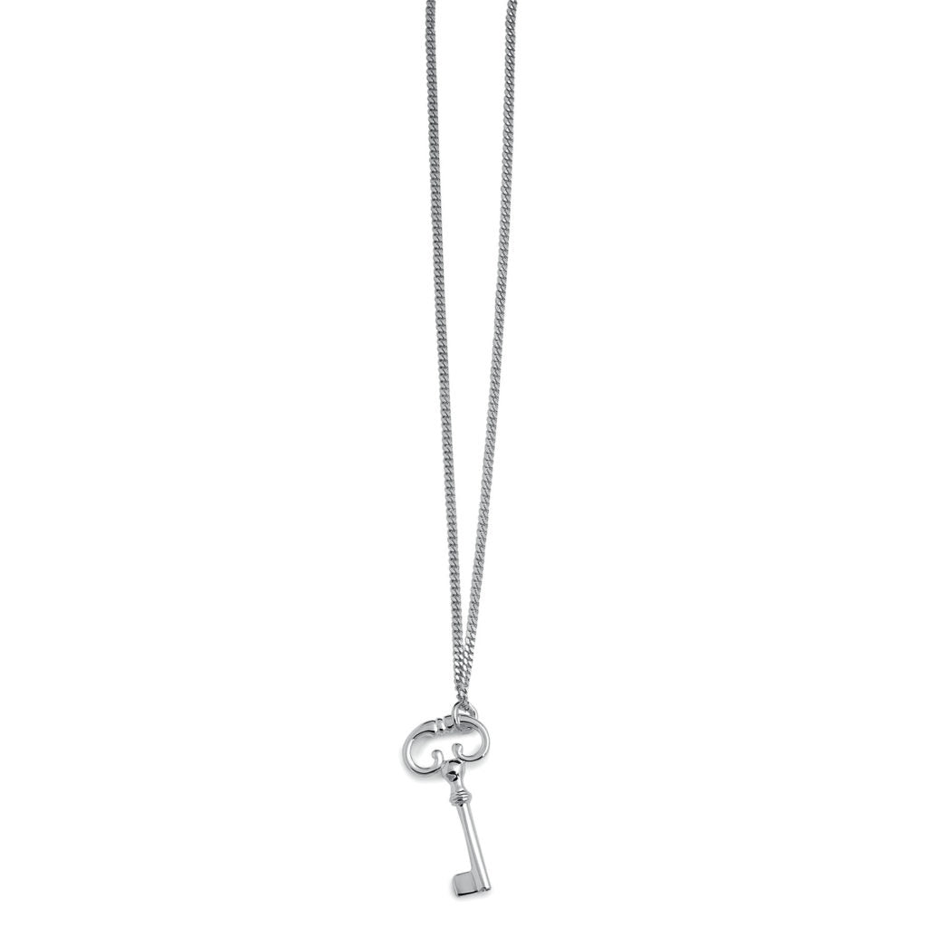 SILVER CURB LINK KEY NECKLACE