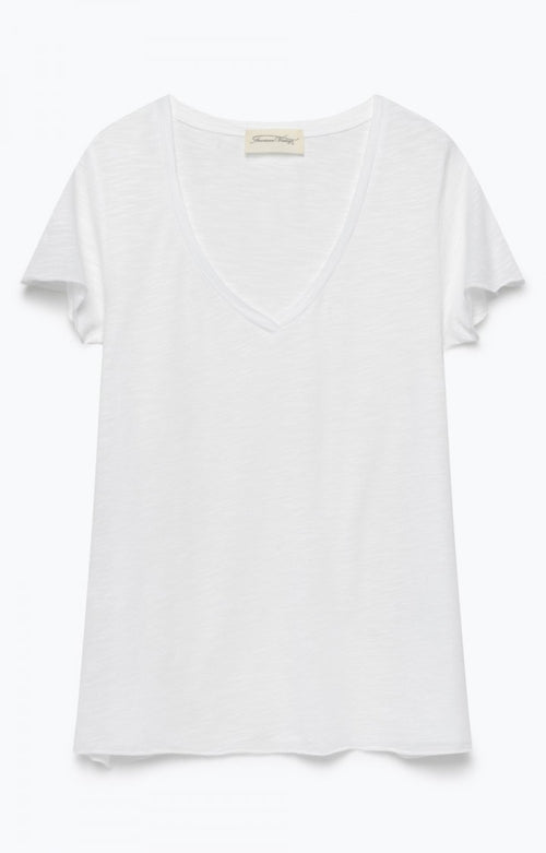 White Vee Neck Tee