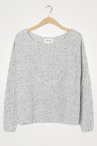 American Vintage Turtle Neck Jumper in Heather Grey