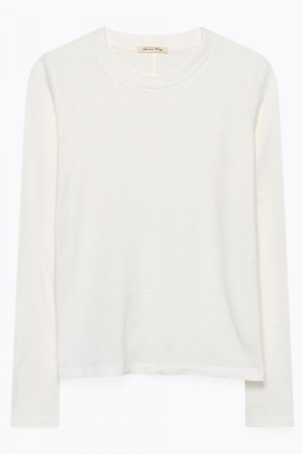 Long Sleeve Round Neck Tee in White