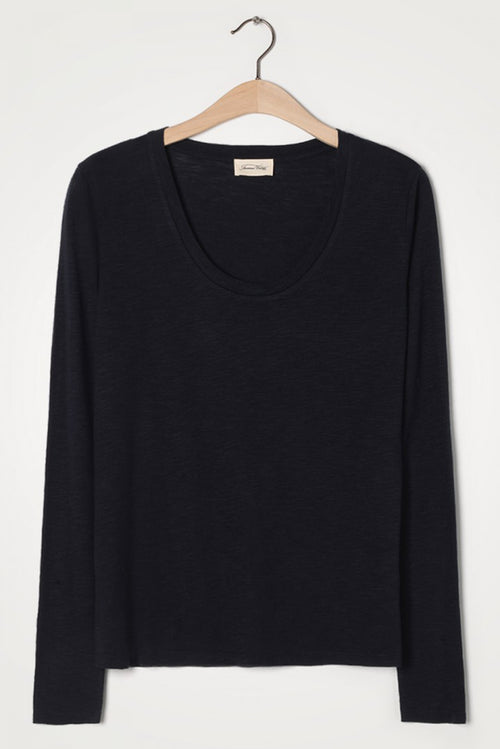 Navy Long Sleeve Round Neck Tee
