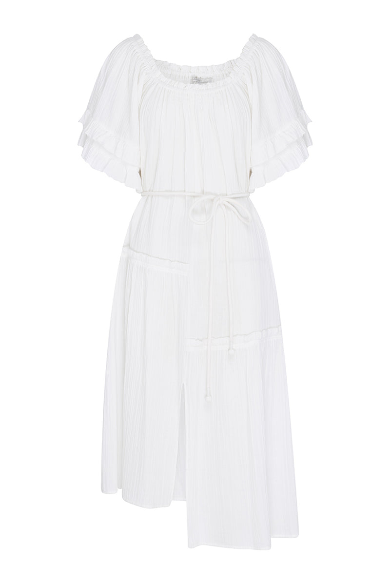 White Martina Ruffle Dress