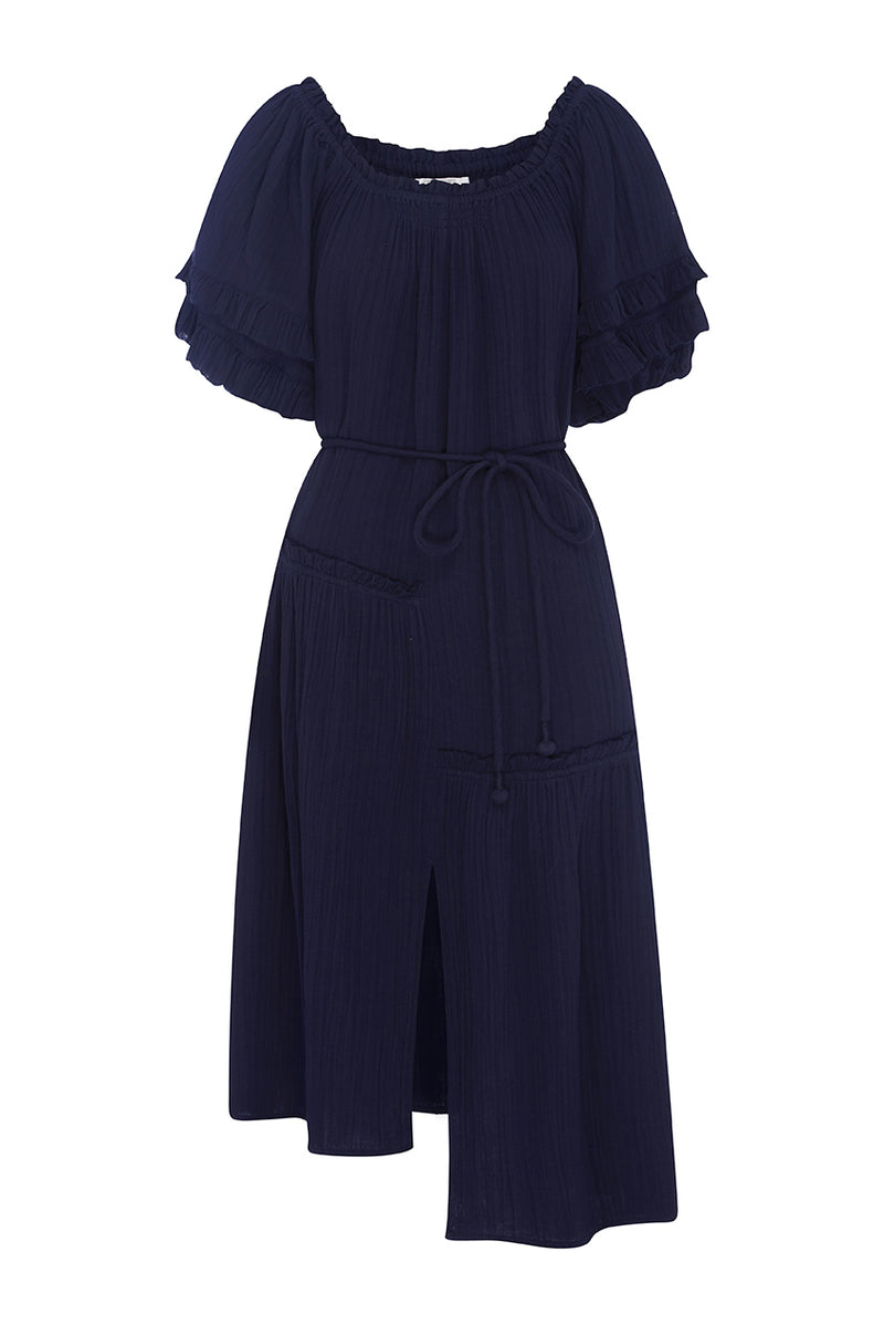 Navy Martina Ruffle Dress