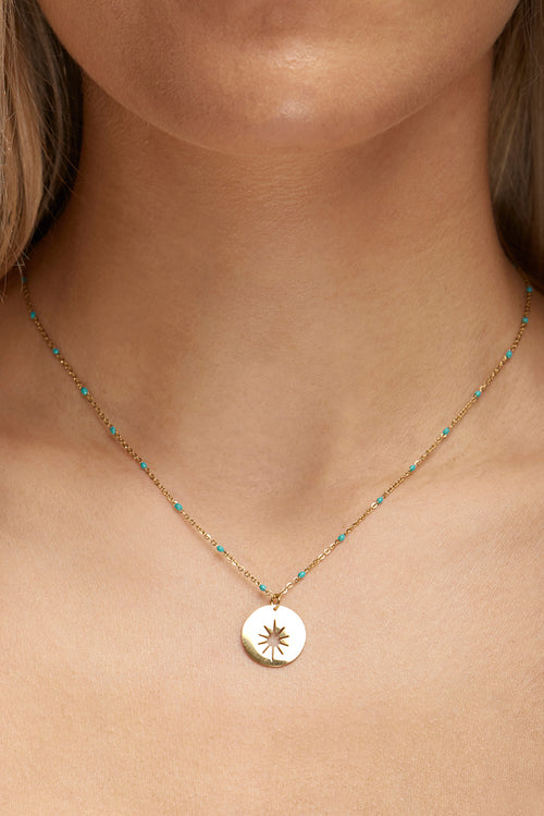 Star Pendant with Torquoise Bead Necklace