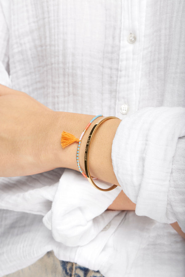 Beaded ChaChi Bracelet with Orange Tassel