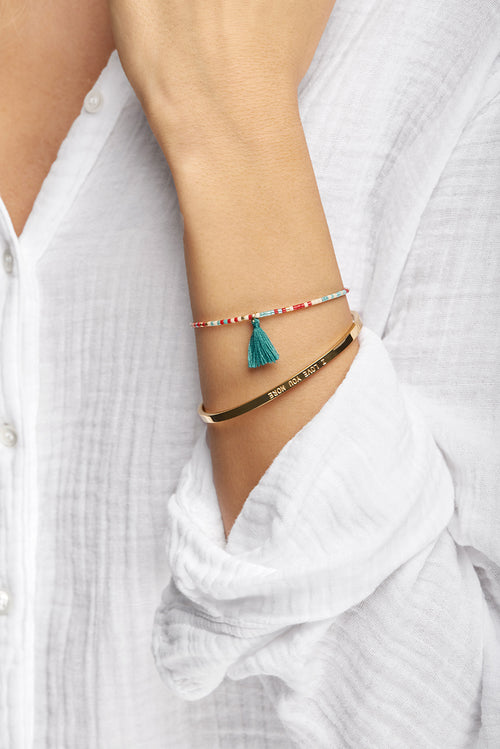 Multi Coloured ChaChi Bracelet with Torquoise Tassel