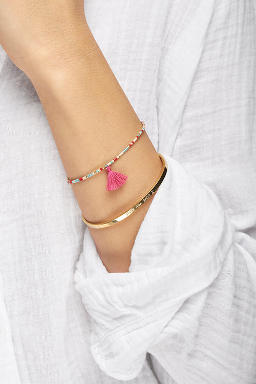 Multi Coloured ChaChi Bracelet with Pink Tassel