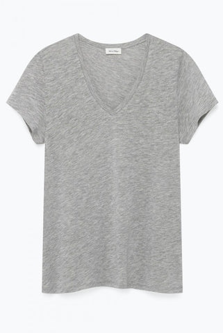 Vee Neck Lightweight Sweat in Polar Melange