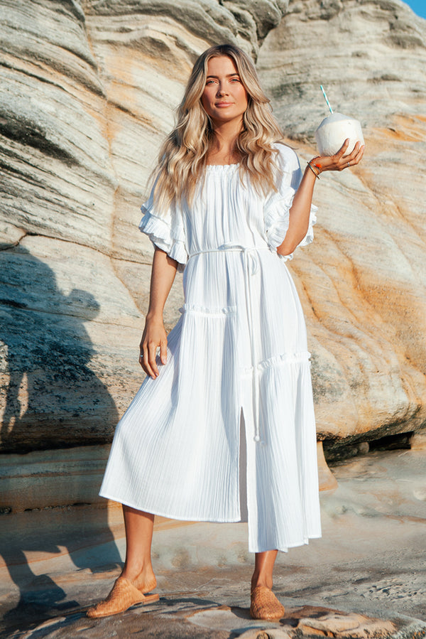 White Martina Ruffle Dress (s)