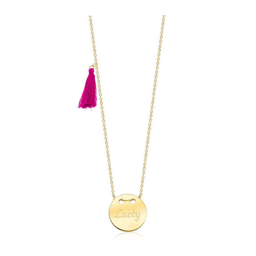 Lucky Circle Pendant Necklace with Pink Tassel