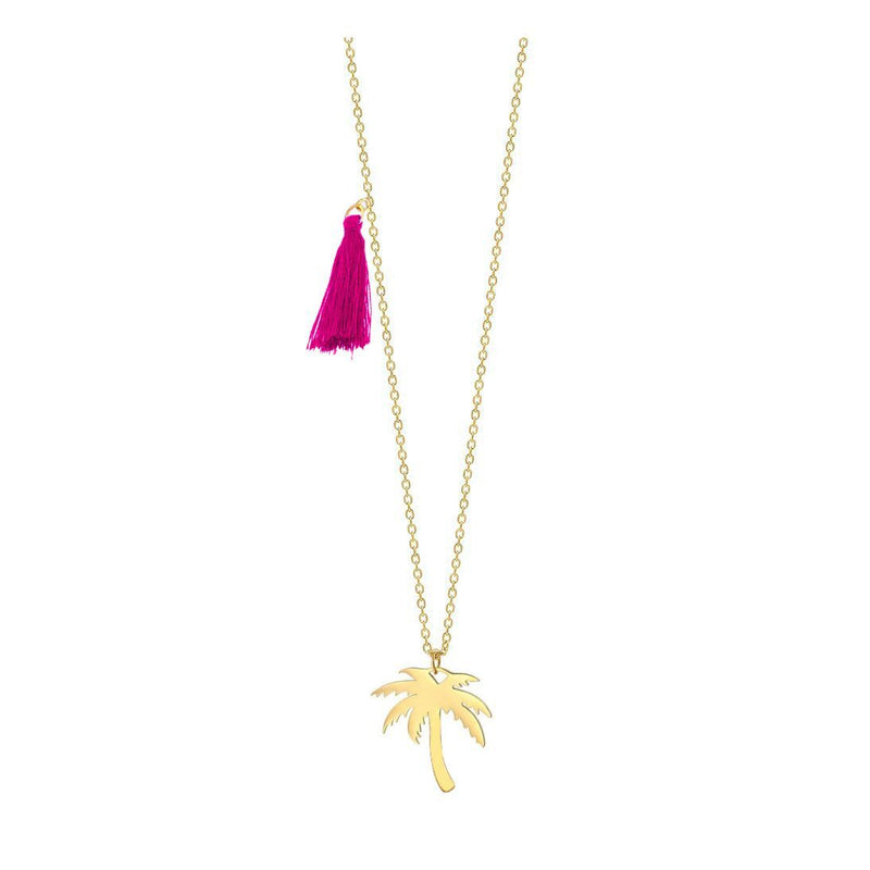 Palm Tree Pendant Necklace with Pink Tassel
