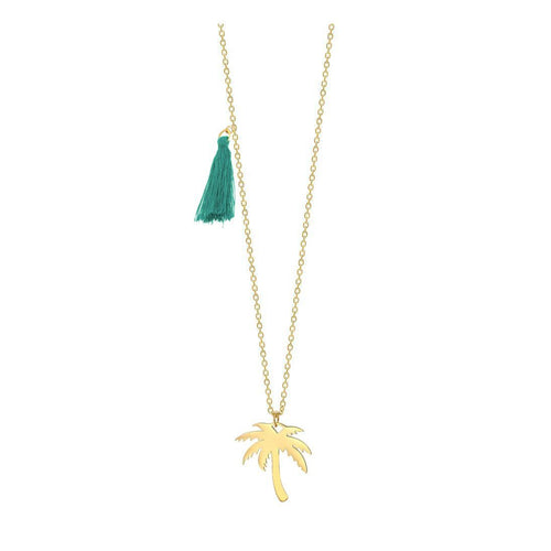 Palm Tree Pendant Necklace w Blue Tassel