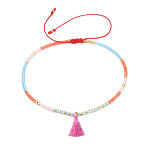 Beaded ChaChi Bracelet with Pink Tassel