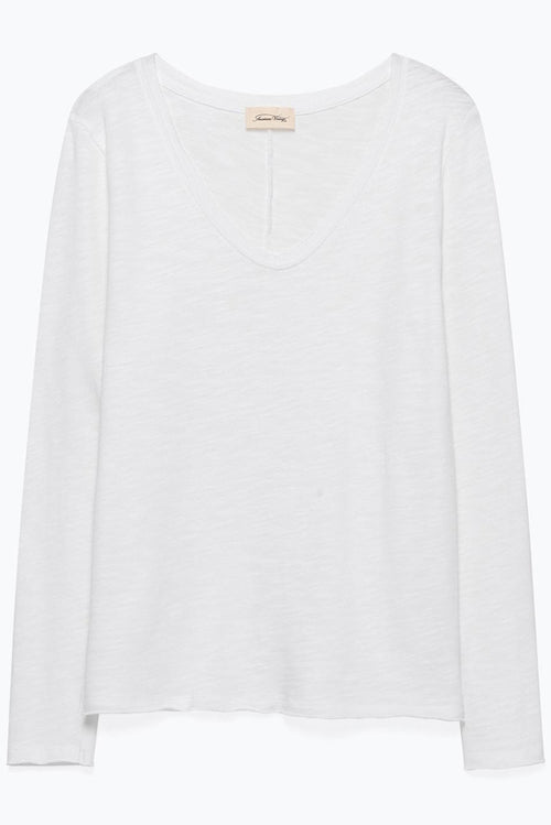 Vee Neck Lightweight Sweat in White