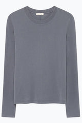 Long Sleeve Round Neck Tee in Vintage Storm