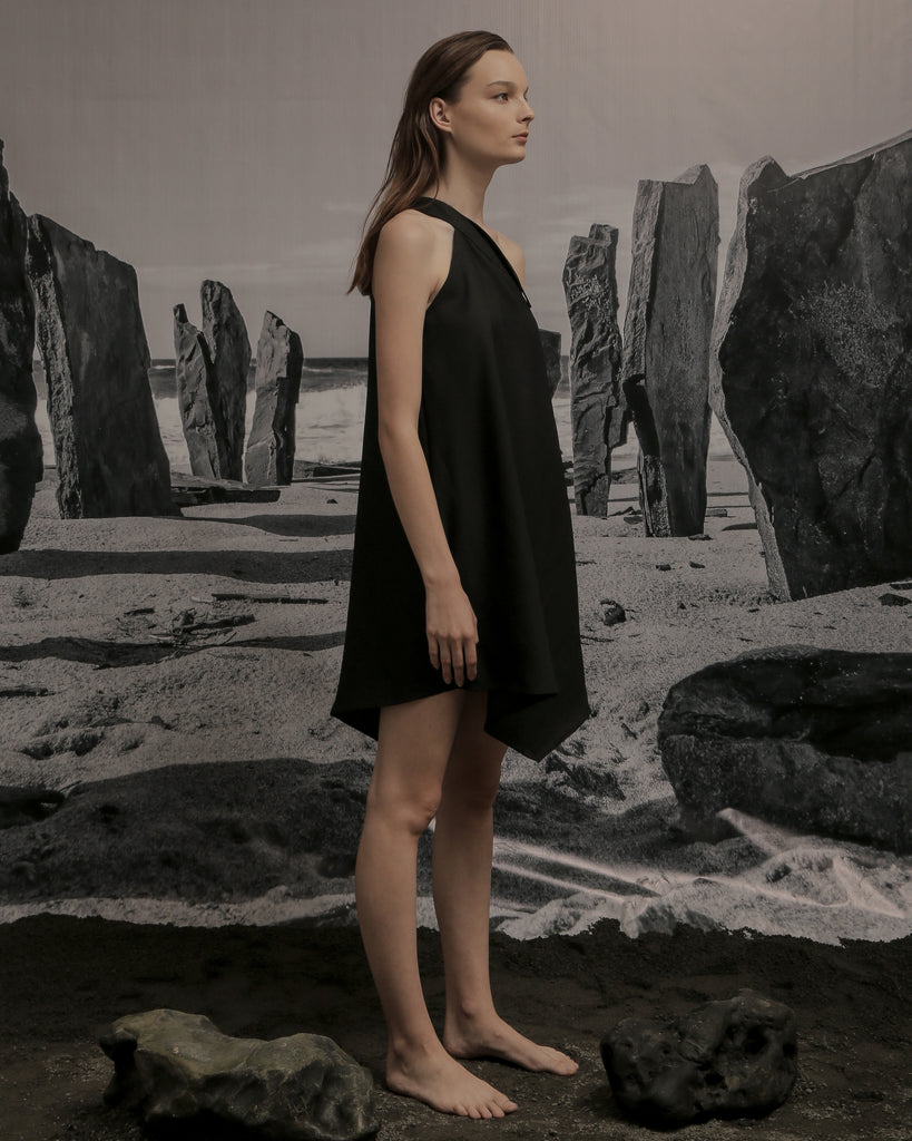REJA ASYMMETRIC DRESS IN BLACK