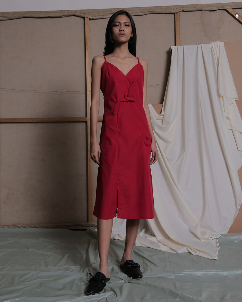 MIJA MIDI DRESS IN RED - ZHETTOVA Studio