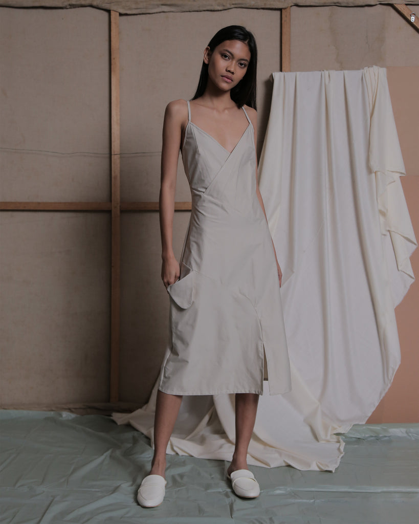 WILLO STRAP DRESS IN KHAKI - ZHETTOVA Studio