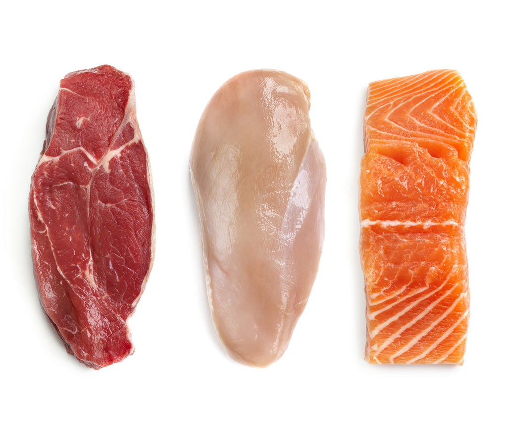 Variety of raw proteins for dogs