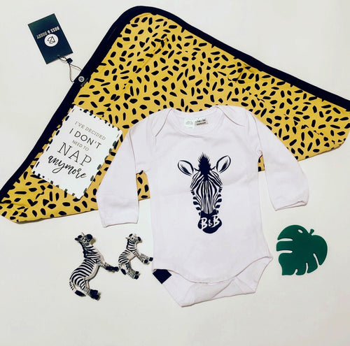 Boss and Bossy Baby Bundle- Mustard Spark baby blanket and Zebra baby onesie white