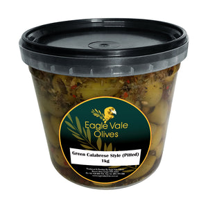 Eagle Vale Olives Australia Best Marinated Green Table Olives Calabrese Style 1kg pail