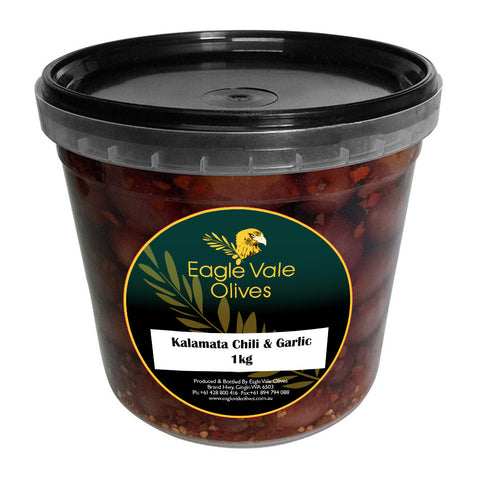Eagle Vale Olives Australia Best Marinated Kalamata Table Olives Chilli and Garlic 1kg pail