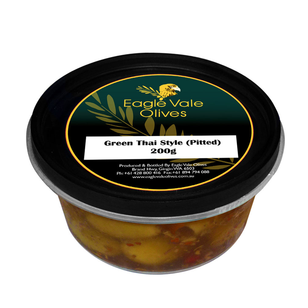 Eagle Vale Olives Australia Best Marinated Green Table Olives Pitted Thai Style 200gm tub