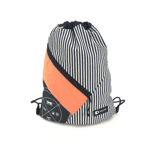 A handy handmade, upcycled and practical drawsting bag for everyday life.