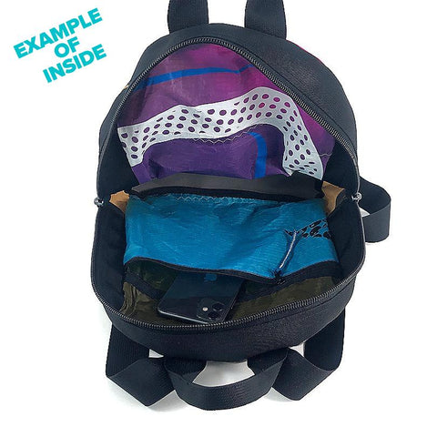An upcycled KitePride stylish, handmade in Tel Aviv CityLiner Backpack designed to fill your everyday needs with a social and environmental impact.