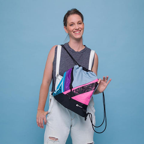 This upcycled KitePride stylish, handmade in Tel Aviv Eco Drawstring Bag is designed to fill your everyday needs with an added social and environmental impact