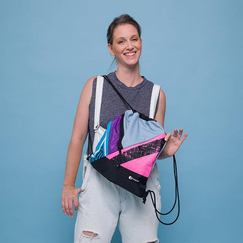 An upcycled KitePride stylish, handmade in Tel Aviv ECO Drawstring designed to fill your everyday needs with a social and environmental impact.