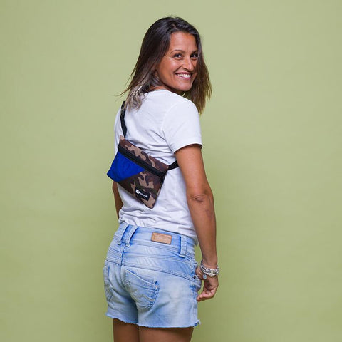 An upcycled KitePride stylish, handmade in Tel Aviv Fanny Pack designed to fill your everyday needs with a social and environmental impact.