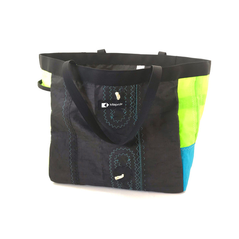 An upcycled KitePride stylish, handmade in Tel Aviv Grande Tote Bag designed to fill your everyday needs with a social and environmental impact.
