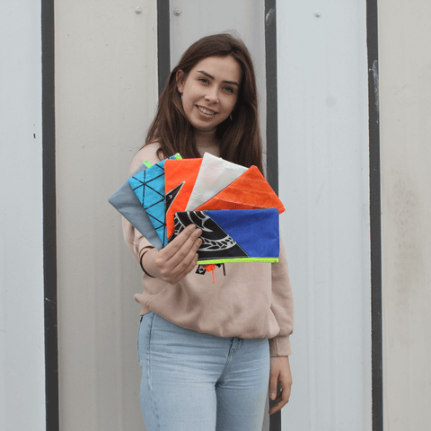 An upcycled KitePride stylish, handmade in Tel Aviv Pencil Case designed to fill your everyday needs with a social and environmental impact.
