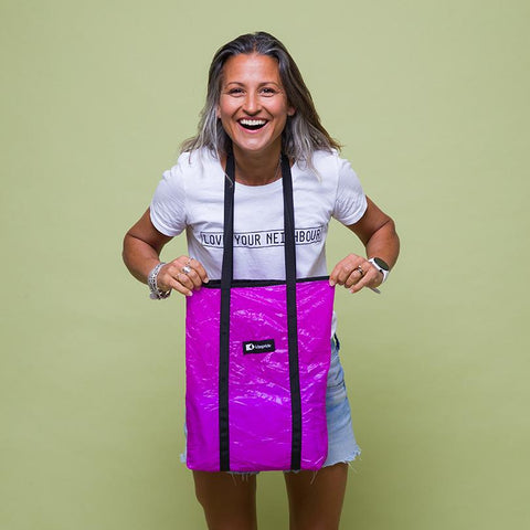 This upcycled KitePride stylish, handmade in Tel Aviv Shopper (Little Minion) is designed to fill your everyday needs with an added social and environmental impact.  Edit alt text