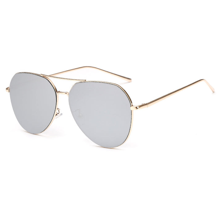 Briella Mirrored Aviator Sunglasses-Silver Lens / Gold Frame