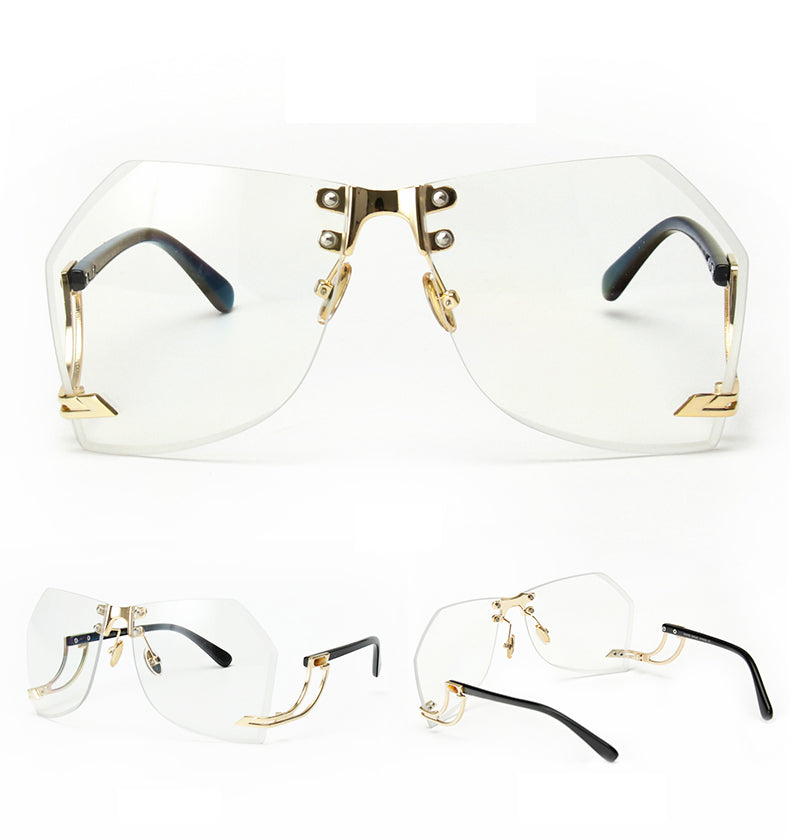 Tye Oversized Rimless Sunglasses-Clear Lens / Gold Frame
