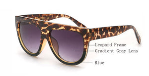 Amaro Flat Top Gradient Sunglasses-Grey Lens / Leopard Blue Frame