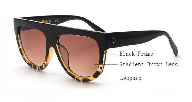 Amaro Flat Top Gradient Sunglasses-Brown Lens / Black Leopard Frame