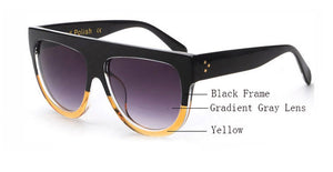 Amaro Flat Top Gradient Sunglasses-Grey Lens / Black Yellow Frame